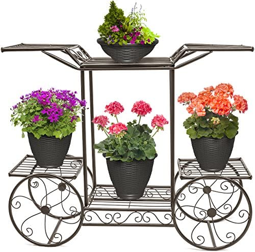 Sorbus Garden Cart Stand & Flower Pot Plant Holder Display Rack, 6 Tiers, Parisian Style – Perfect for Home, Garden, Patio (Bronze)