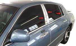Made in USA! Works with 1998-2011 Lincoln Town Car 6PC Stainless Steel Chrome Pillar Post Trim