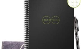 Rocketbook Smart Reusable Notebook – Dot-Grid Eco-Friendly Notebook with 1 Pilot Frixion Pen & 1 Microfiber Cloth Included – Infinity Black Cover, Executive Size (6″ x 8.8″)