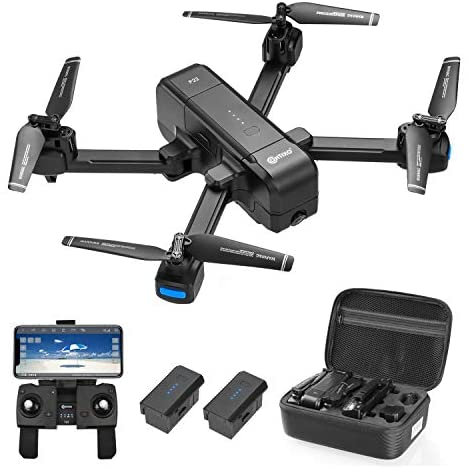Contixo F22 Plus 4K GPS Drone with HD FPV Camera Live Video for Adults, Portable Selfie Quadcopter for Beginners with Auto Return Home, Custom Flight Path, Follow Me, Long Control Range,2 Batteries
