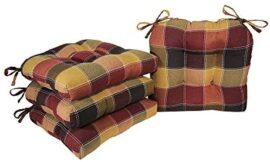 Arlee – Harris Plaid Chair Pad Seat Cushion, Full-Size Ties for Non-Slip Assist, Sturdy, Superior Consolation and Softness, Reduces Stress, Washable, 16 x 16 Inches (Crimson, Set of 4)