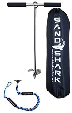"SandShark 18 ""Sand Anchor, Tested & Proven to Hold Watercraft Secure, Auger to The Beach or Sandbar for Jet Ski, PWC, Pontoon, Kayak, Canoe 18 Inch w / Case"
