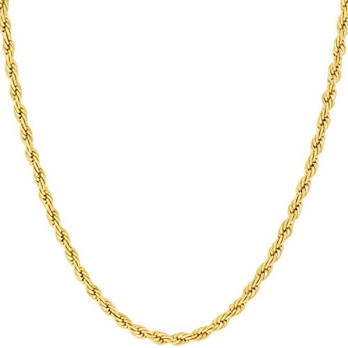 Lifetime Jewelry 2mm Rope Chain Necklace 24k Real Gold Plated for Women and Men with Free Lifetime Replacement Guarantee