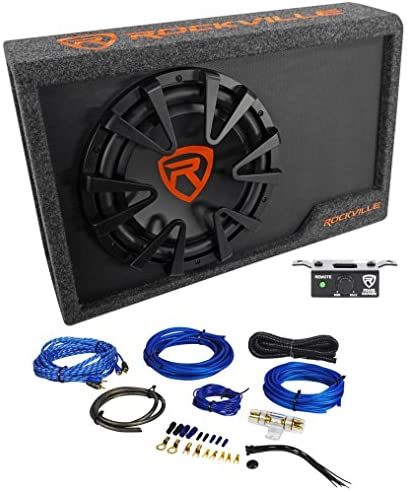Rockville RWS12CA Slim 1200 Watt 12″ Powered Car Subwoofer Enclosure + Wire Kit