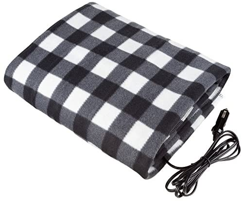 Stalwart – Electric Car Blanket- Heated 12 Volt Fleece Travel Throw for Car and RV-Great for Cold Weather, Tailgating, and Emergency Kits by Stalwart-BLACK/WHITE