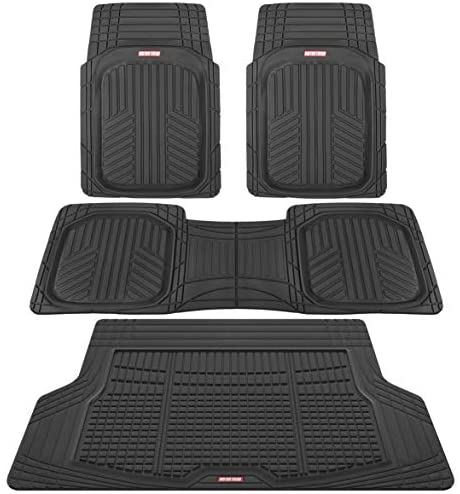 Motor Trend Premium FlexTough All-Protection Cargo Liner – DeepDish Front & Rear Mats Combo Set – w/ Traction Grips, Black