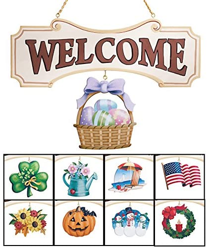 Collections Etc Seasonal Welcome Sign Decoration – 10 Piece Set