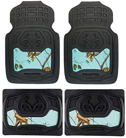 Realtree 4pc Camo Auto Accessories Kit, Mint, Xtra, Timber Camo – Includes 2 Front Camo Floor Mats and 2 Rear Floor Mats for Cars, SUV and Trucks Heavy Duty