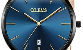 OLEVS Mens Watches Ultra Thin Minimalist Wrist Watch Analog Quartz Deep Blue Dial and Leather Band Watches – Calendar Date Waterproof Quartz Casual Watch Simple Leather Band Watch Mens