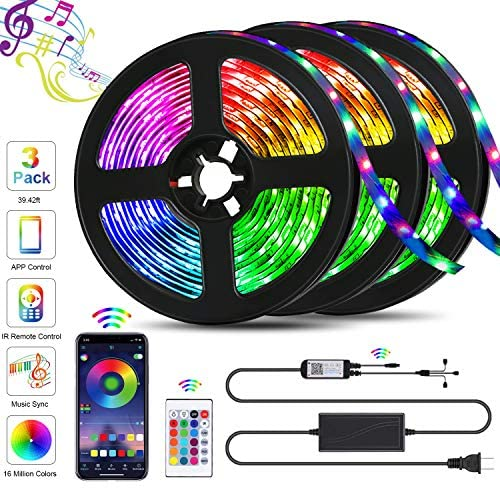 39.42ft LED Strip Lights, QZYL Lights Strip Music Sync, App Control with Remote, 5050 RGB LED Light Strip Color Changing 24-Key Remote, Sensitive Built-in Mic, LED Lights Rope Lights for Home TV Party