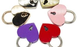 MERYSAN 6Pcs Small Vintage Metal Heart Shaped Padlock Mini Lock with Keys, Assorted Colors(Normal Size)