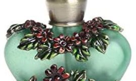 Glass Perfume Bottle Vintage Ancient Rattan Flower Pattern Perfume Bottles Empty Refillable (green)