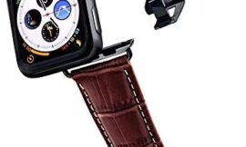 Longvadon Men's Caiman Series Watch Band – Compatible with Apple Watch 42MM (Series 1-3) & 44MM (Series 4-5) – Genuine Top Grain Leather – Mahogany Brown & White Stitching w/Black Details – M Size