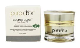 PURA D'OR Golden Glow Face Cream PM – Anti Aging Face Cream With Pure 24K Gold for Firmer Skin, Reduced Appearance of Wrinkles and Increased Appearance of Brighter Skin (1.7oz)