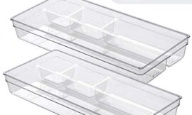 BINO Multi-Purpose Plastic Drawer Organizer, 4-Section Shallow (Clear, 2-Pack)