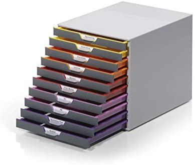 DURABLE Desktop Drawer Organizer (VARICOLOR 10 Compartments with Removable Labels) 11″ w x 14″ d x 11.375″ h, Gray & Multicolored (761027)