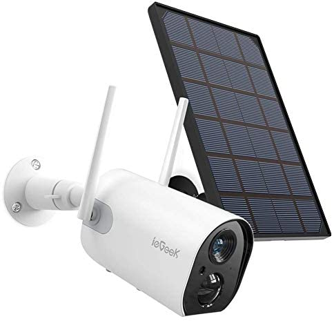 Wireless Outdoor Security Camera, WiFi Solar Rechargeable Battery Power IP Surveillance Home Cameras, 1080P, Human Motion Detection, Night Vision, 2-Way Audio, 4dbi Antenna, IP65 Waterproof, Cloud/SD