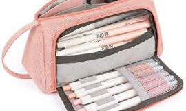 Mokani Pencil Case, Big Capacity Pencil Pen Pouch with Handle, Stationery Bag Supplies Box for Student Office College Middle School High School, Pink
