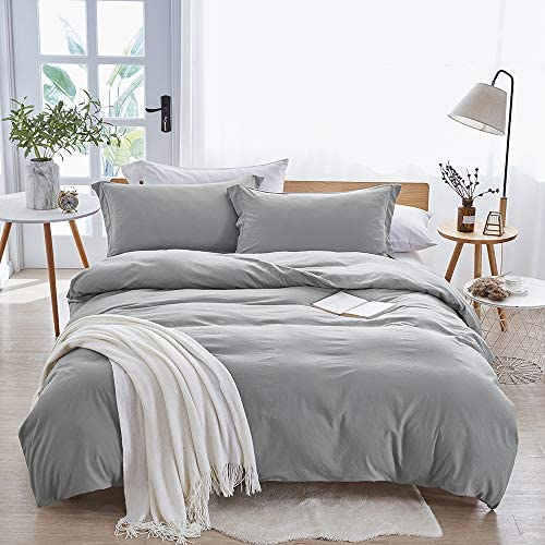 Dreaming Wapiti Duvet Cover King,100% Washed Microfiber 3pcs Bedding Duvet Cover Set,Solid Color – Soft and Breathable with Zipper Closure & Corner Ties (Light Gray, King)