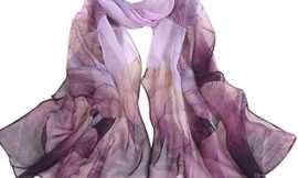 GERINLY Chiffon Scarves Lotus Flower Pint Sheer Neck Scarf for Hair Wrap