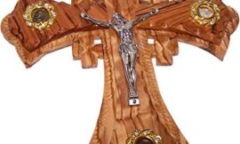 Two (2) Layers of Olivewood Crucifix with Holy Land Samples – Essences