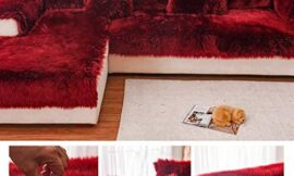 Plush Sofa Cover,sectional Multi-Size Anti-Slip Sofa Slipcover Thick Warm Winter L Shape Corner Couch Covers Pets Dog Furniture Protector-red Wine 80x180cm(31x71inch)