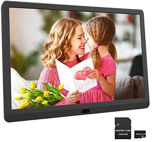 HD 1920×1080 Digital Photo Frame 10 Inch Digital Picture Frame Include 32GB SD Card, Supports Photo Auto-Rotate, Auto Play, Auto Power On/Off, Background Music, Calendar