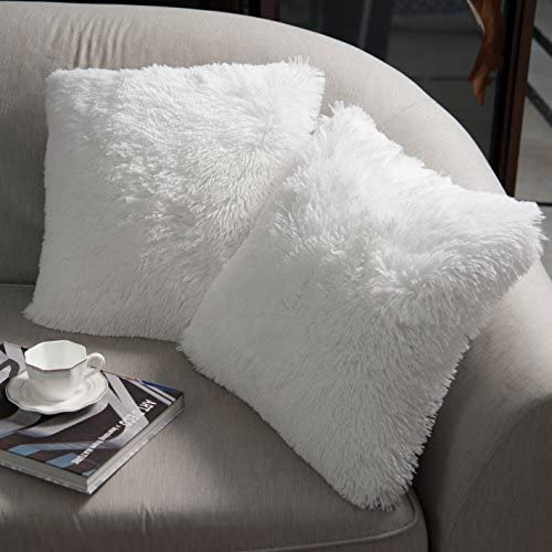 NordECO HOME Luxury Soft Faux Fur Fleece Cushion Cover Pillowcase Decorative Throw Pillows Covers, No Pillow Insert, 18″ x 18″ Inch, White, 2 Pack
