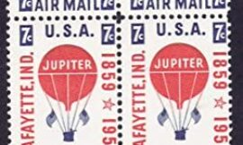 1959 JUPITER BALLOON #C54 Airmail Plate Block of 4 x 7 cents US Postage Stamps