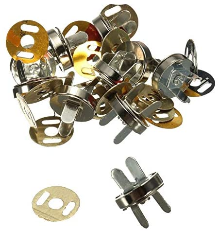 Haifly 20 Sets Silver Magnetic Bag Clasps Metal Button Clasps Snaps Fastener with 2 Metal Backing Washers 14mm
