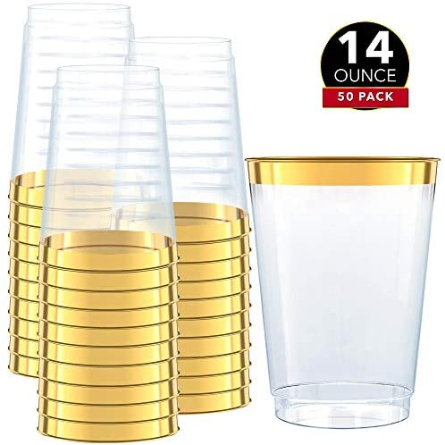 Gold Plastic Clear Cups ~14 oz. 50 Pack ~ Disposable Party Cups with Gold Rim ~ Fancy Wedding Tumblers ~ Elegant Party Supplies & Decorations ~ Gold Rimmed Cup