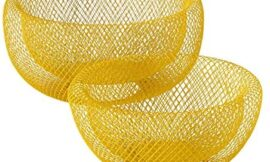 WHW Whole House Worlds 2 Piece Modern Yellow Metal Wire Mesh Fruit Bowl Set, Double Wall Construction, 1- Large, 11.5 D x 6 Tall, and 2- Medium 9.5 Diameter x 4.75 Tall Inches