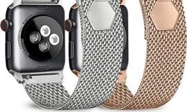 Pack 2 Metal Loop Bands Compatible with Apple Watch 38mm 40mm 42mm 44mm, Stainless Steel with Magnet Lock Replacement Bands Compatible for iWatch Series 5/4/3/2/1