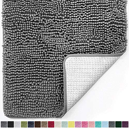Gorilla Grip Original Luxury Chenille Bathroom Rug Mat, 36×24, Extra Soft and Absorbent Shaggy Rugs, Machine Wash and Dry, Perfect Plush Carpet Mats for Tub, Shower, and Bath Room, Gray