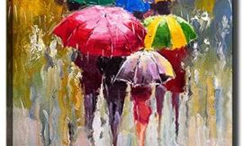 KLVOS Large Canvas Print Wall Art- 24×36 Colorful Umbrella Office Worker Walking in The Rain Canvas Oil Painting Picture Artworks Modern Landscape for Home Wall Decor Ready to Hang
