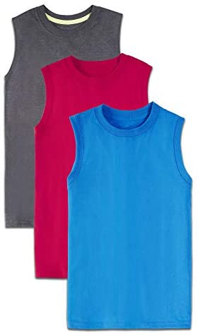 Fruit of the Loom Boys' Solid Multi-Color Soft Sleeveless Muscle Shirts, 3 Pack, CHARCOAL HEATHER/TRUE RED/SCUBA TURQUOISE, Large