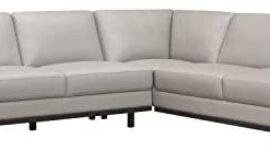 Lexicon 101″ x 87″ Leather Sectional Sofa, Gray