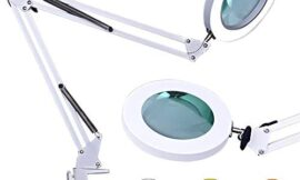 LED Magnifying Lamp, Alisr Daylight Bright Stepless Dimming Magnifying Glass Light with Clamp, Adjustable Swivel Arm Magnifier Lamp for Reading, Craft, Sewing, Repair, Knitting, Jewelry Making- White