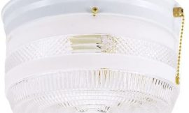 Westinghouse Lighting 6734500 Two-Light Flush-Mount Interior Ceiling Fixture with Pull Chain, White Finish with White and Clear Glass