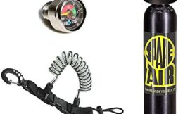 Spare Air New 3.0CF Emergency Air Supply with Dial Pressure Gauge and Free Quick Release Coil Lanyard ($15.95 Value) for Scuba Diving (Tank/Reg/Gauge/Lanyard Only)