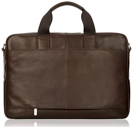 Knomo Luggage Brompton Amesbury Full Leather Double Zip Brief 15-inch, Brown