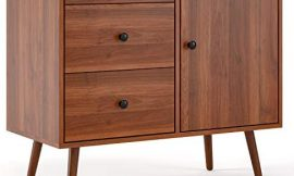 HOMFA Wide Dresser with 3 Drawer Chest and 1 Side Cabinet, 31L inch End Table Nightstand, File Storage Organizer Shelves, Accent Wood Frame Home Office, Walnut Brown