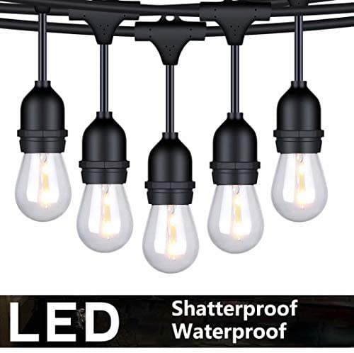 FOXLUX Outdoor String Lights – 48 ft Shatterproof and Waterproof Heavy-Duty LED Outdoor Lights – 15 Hanging Sockets, 1 W Plastic Bulbs – Create Ambience for Patio, Backyard, Garden, Bistro, Cafe