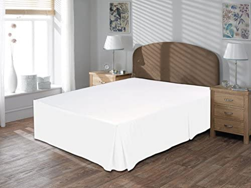 Linen House Hotel Collection Bedding's 800-Thread-Count 100% Egyptian Cotton Short King Damask Solid 3 Piece ( Box Plated Bed Skirt With 10″ Drop Length + 2pc Pillow Case ) , White