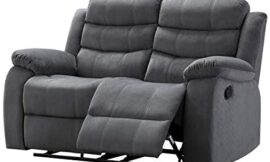 AC Pacific Living Room Upholstered Reclining, Love Seat with 2, Grey