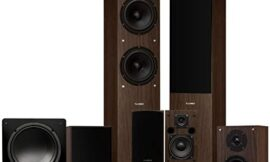 Fluance Elite Series Surround Sound Home Theater 7.1 Channel Speaker System Including Floorstanding, Center Channel, Surround, Rear Surround Speakers, and a DB10 Subwoofer – Walnut (SX71WR)