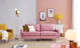 Pink Velvet Fabric Sofa Couch,JULYFOX 71 inch Wide Mid Century Modern Living Room Couch 700lb Heavy Duty