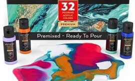 Arteza Acrylic Pouring Paint, 2oz Bottles, Set of 32 Assorted Colors, High Flow Acrylic Paint, No Mixing Needed, Paint for Pouring on Canvas, Glass, Paper, Wood, Tile, and Stones