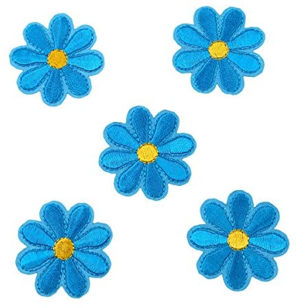 CH 5PCS Embroidered Blue Flower Appliques Patches Iron On Decorative Patch Clothing Accessories