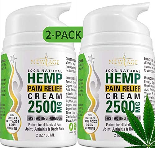 (2-Pack) Hemp Cream Pain Relief by New Age – Natural Hemp Extract Cream for Arthritis, Back Pain Muscle Pain Relief – Efficient Inflammation Cream & Carpal Tunnel Relief – Made in USA – Good for Skin